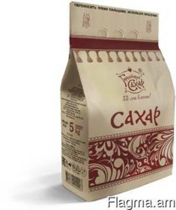 Сахар белый кристаллический, расфасованный в бумажные пакеты